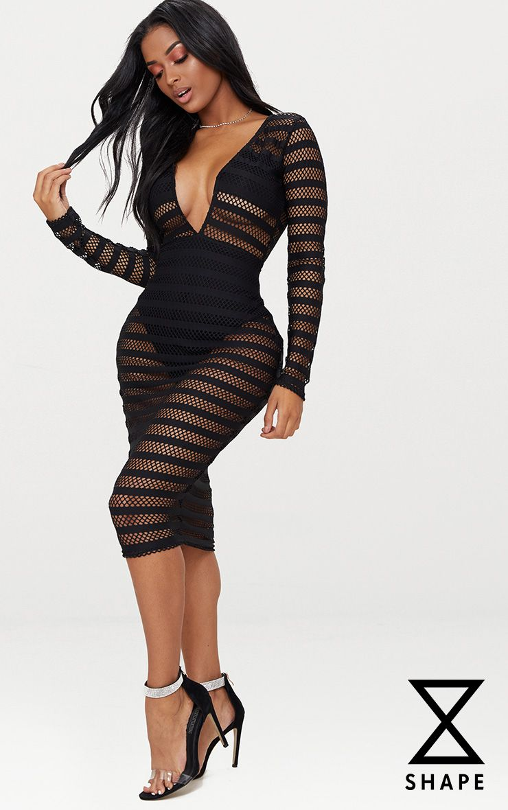 Shape Black Sheer Plunge Midi Dress