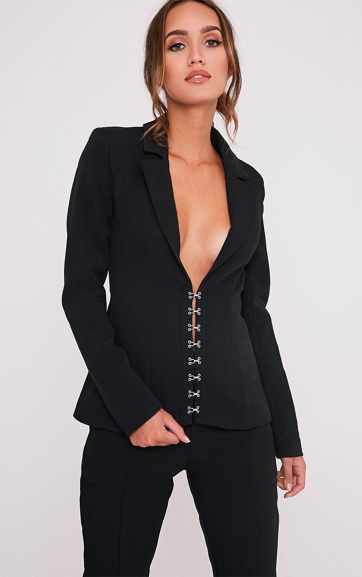 Ryena Black Hook & Eye Detail Suit Jacket 1