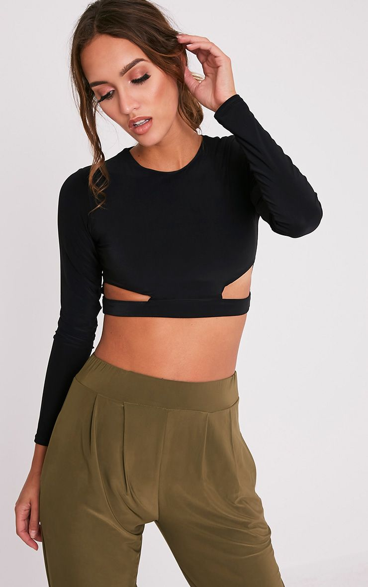 Nora Black Slinky Cut Out Longsleeve Crop Top