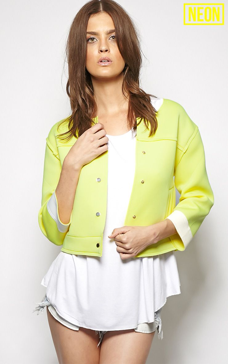 Jasmin Yellow Scuba Crop Jacket 1