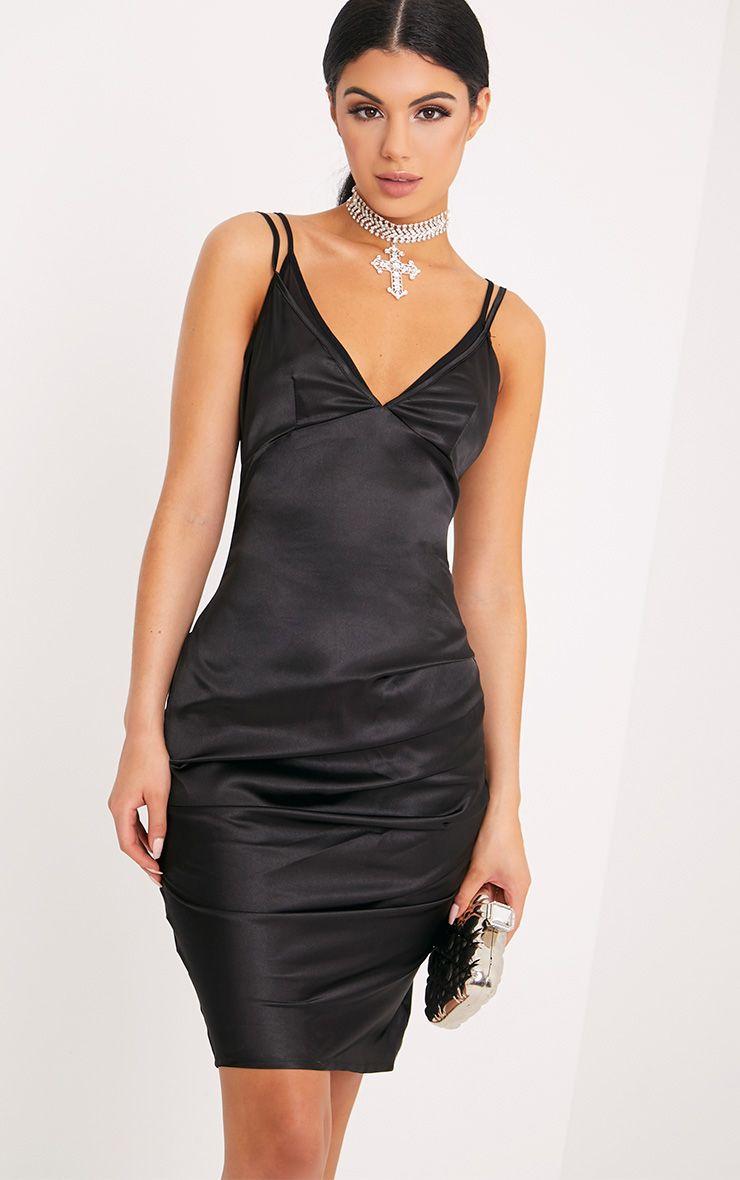 Amber Black Satin Mesh Bralet Midi Dress