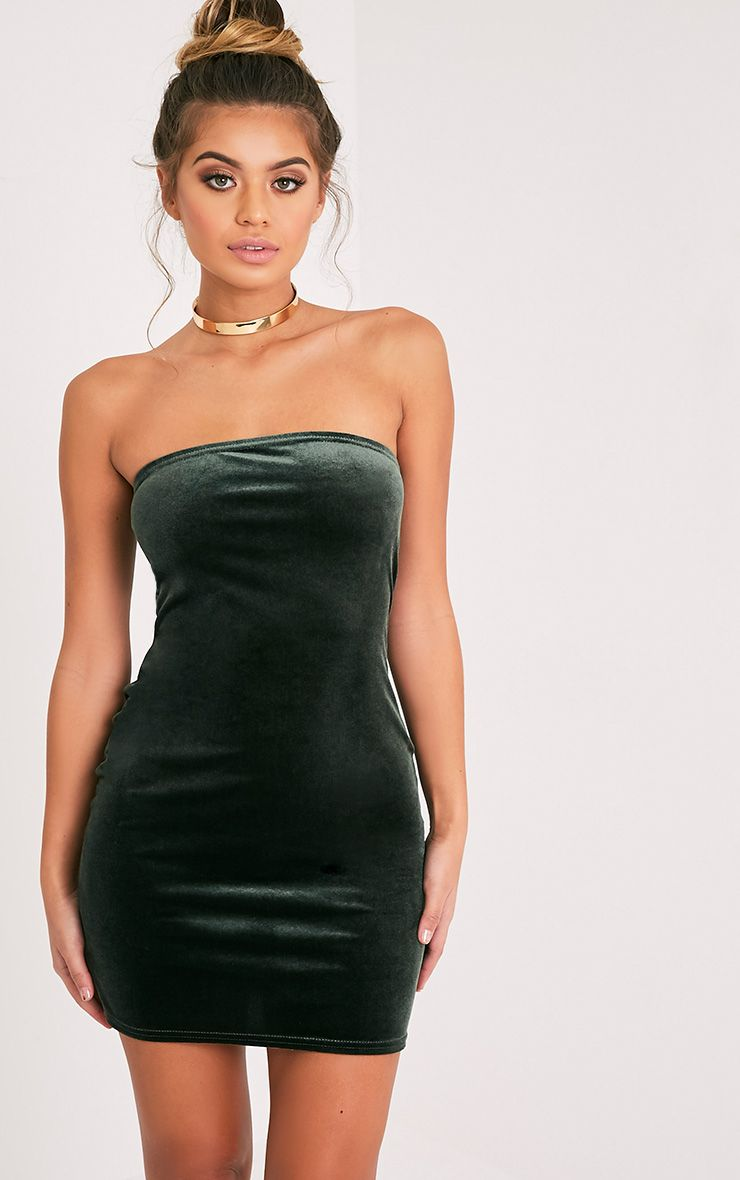 Shany Khaki Velvet Bandeau Bodycon Dress