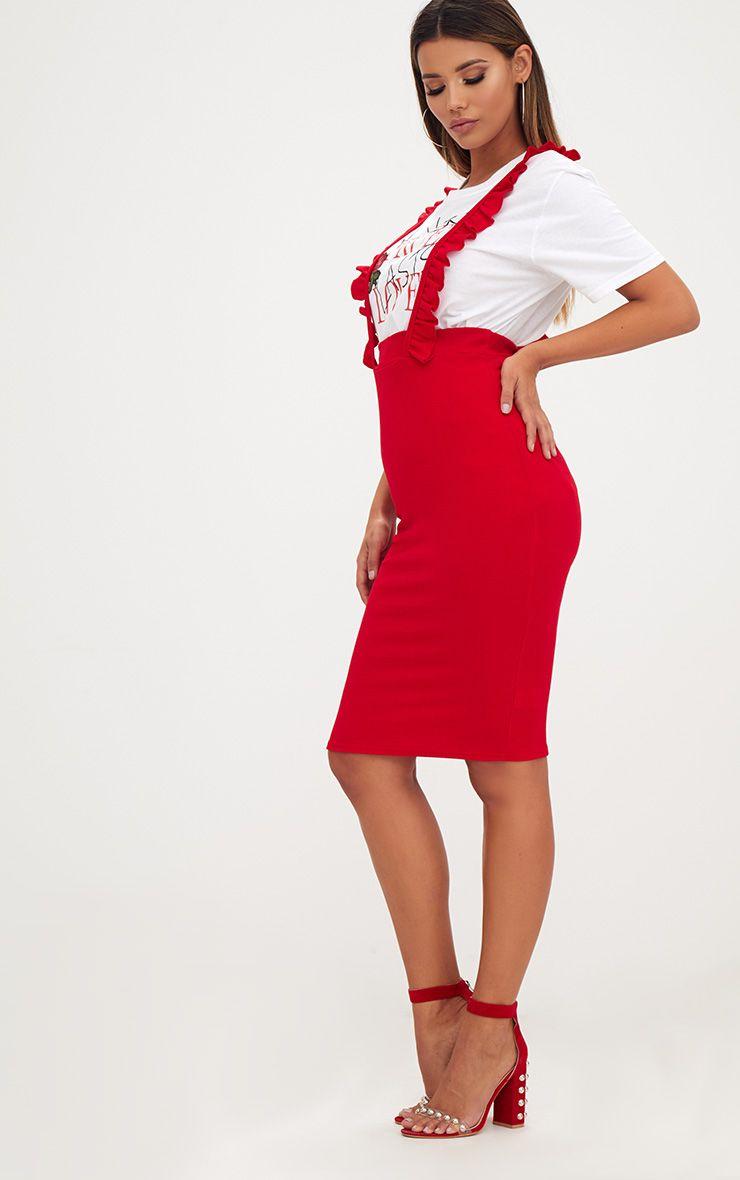 Red Frilly Brace Midi Skirt