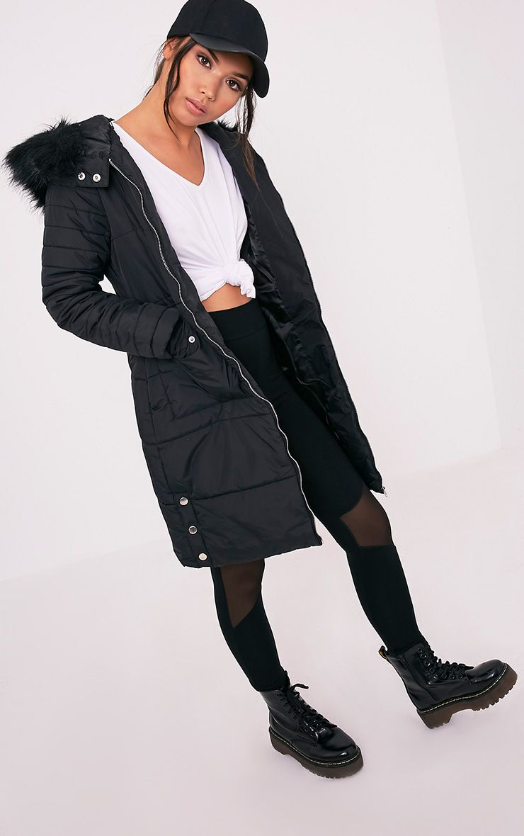 Saab Black Longline Faux Fur Trim Padded Parka