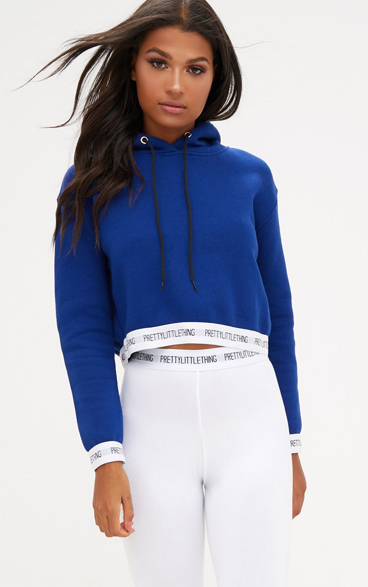 Cobalt PrettyLittleThing Trim Cropped Hoodie