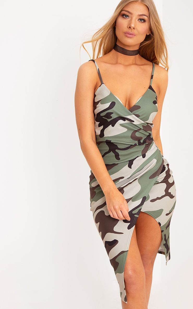 Lauriell Green Camouflage Wrap Front Crepe Midi Dress