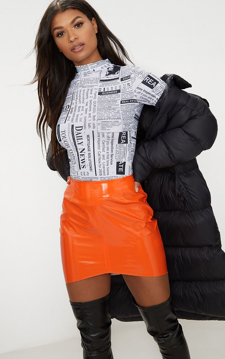 Orange Vinyl High Waisted Zip Up Mini Skirt