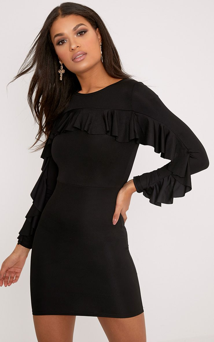 Rita Black Frill Sleeve Bodycon Dress