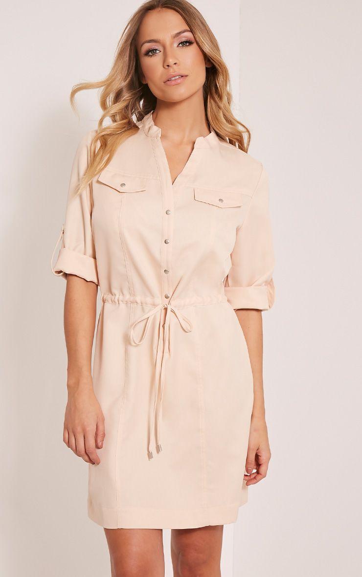 Teeya Beige Collarless Shirt Dress 1