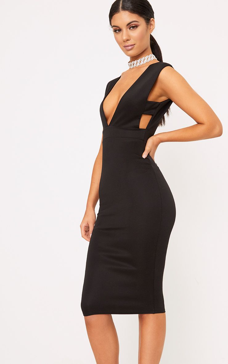 Black Strap Side Plunge Midi Dress