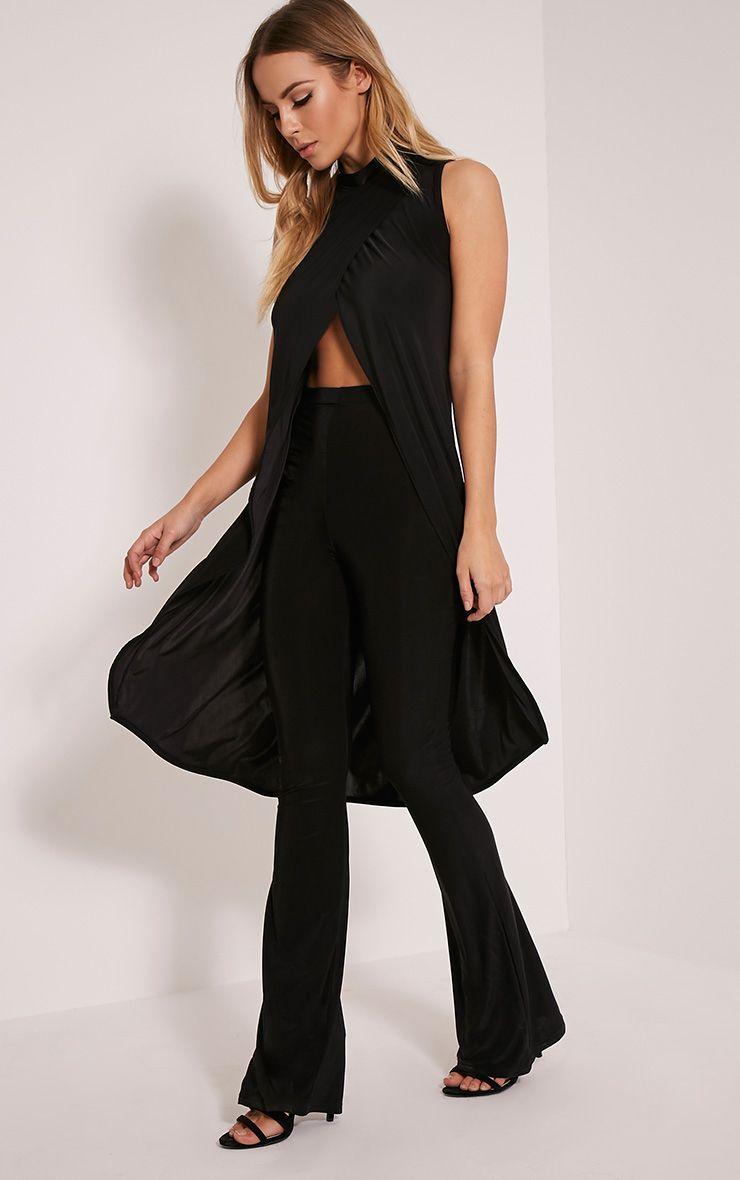 Haylee Black Slinky Flared Trousers 1