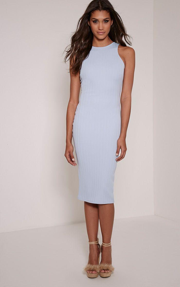 Jazmine Powder Blue Ribbed Midi Dress 1