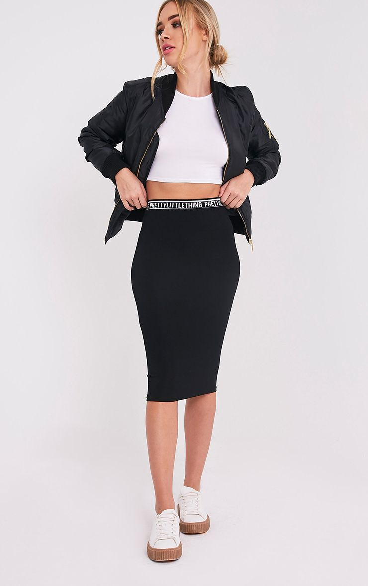 PrettyLittleThing Black Midi Skirt