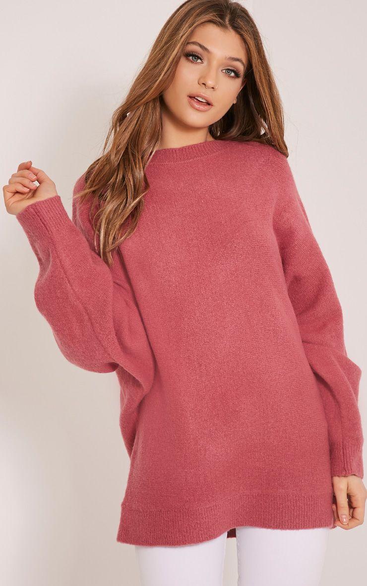 Raysa Dark Rose Oversized Knitted Jumper 1