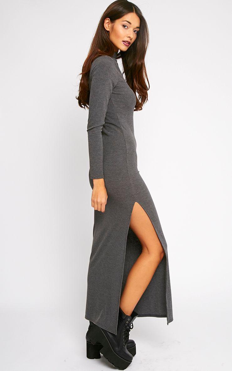 Basic Charcoal Turtle Neck Maxi Dress 1