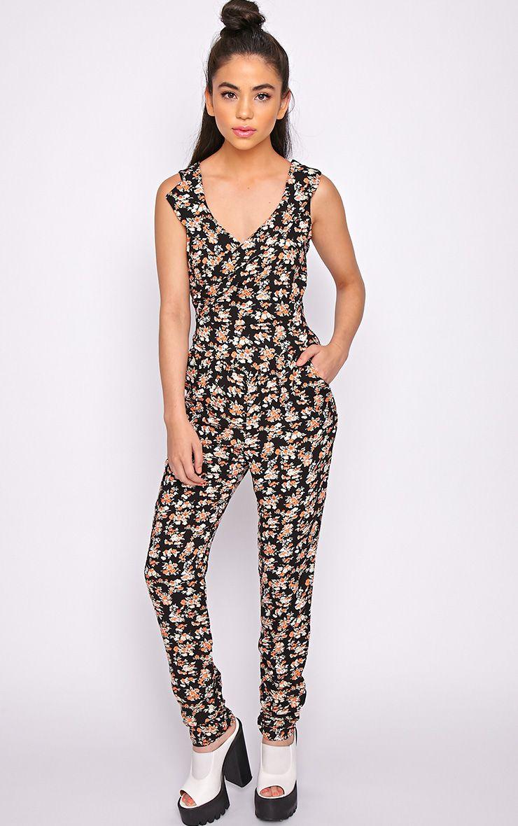 Hels Black Floral Jumpsuit 1
