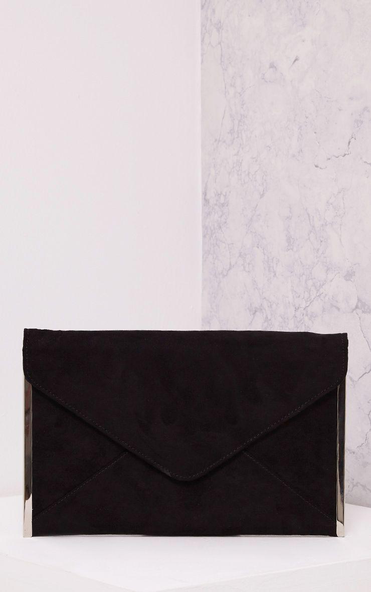 Tassa Black Faux Suede Envelope Clutch Bag 1