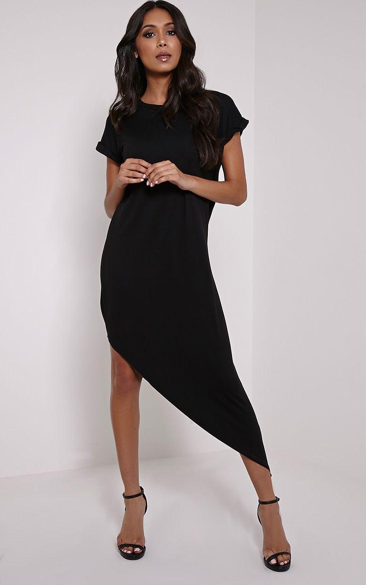 Nolah Black Asymmetric T-Shirt Dress 1