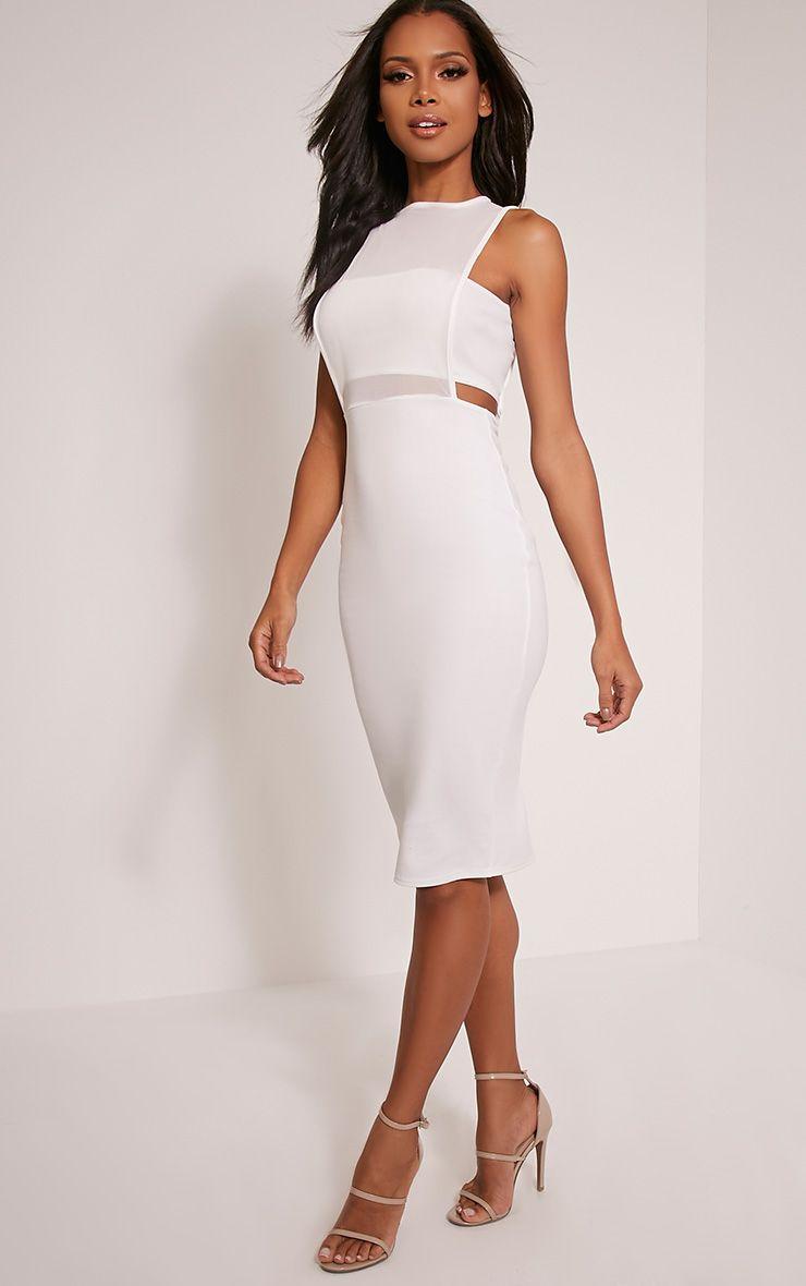 Lanelle White Mesh Detail Midi Dress 1