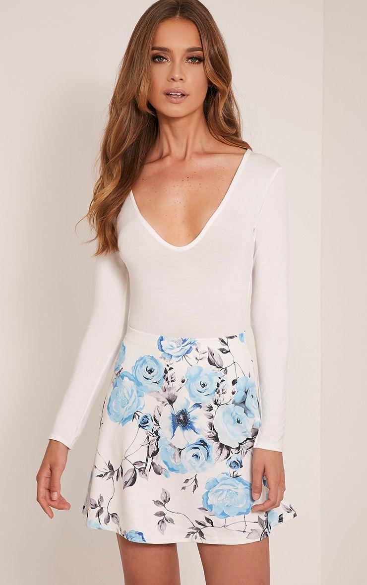 Deltie Blue Floral A-Line Mini Skirt 1