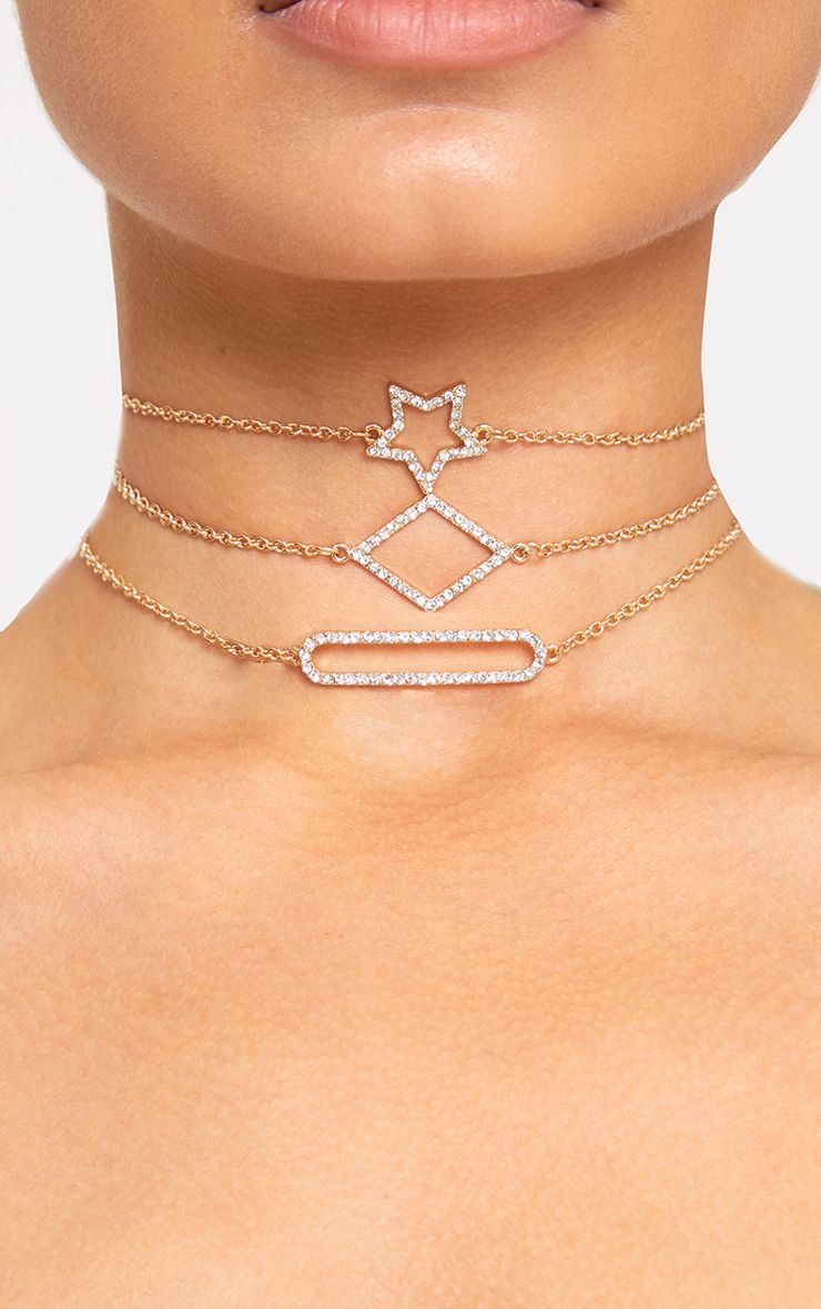 Gold Delicate Layered Shape & Star Choker