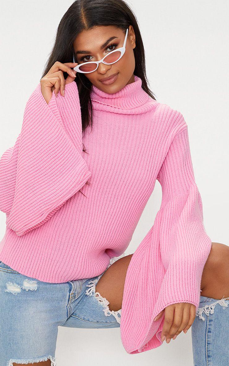 Pink Flare Sleeve Rib Jumper