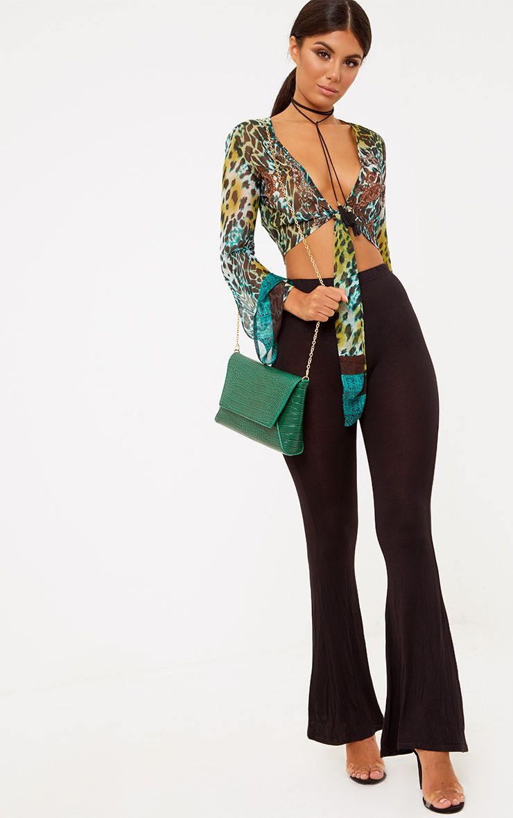 Black Slinky Double Layered Flared Trousers