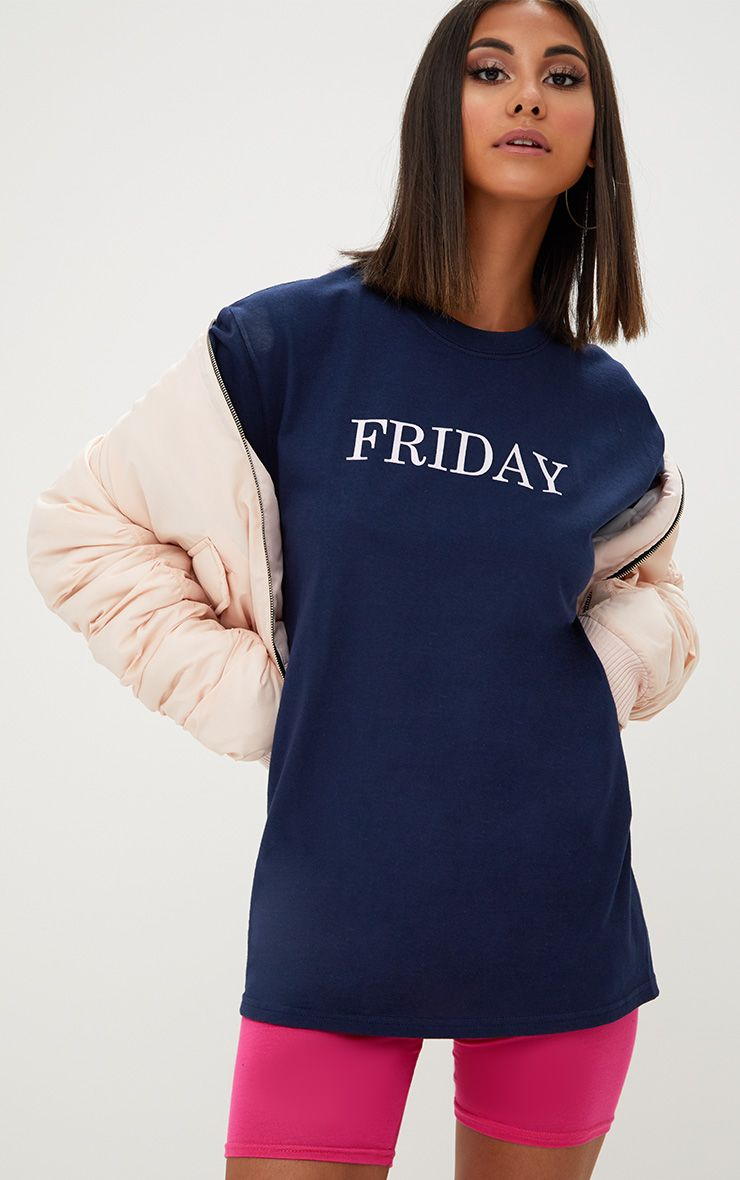 Navy FRIDAY Slogan T Shirt