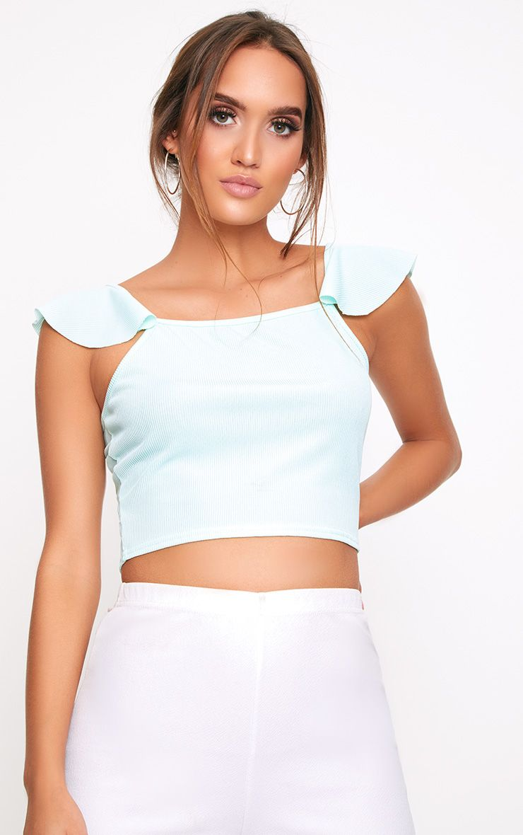 Mint Frill Sleeve Cami Vest
