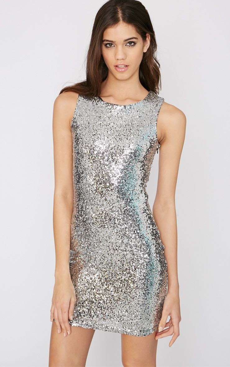 Emory Silver Cut Out Sequin Dress 1