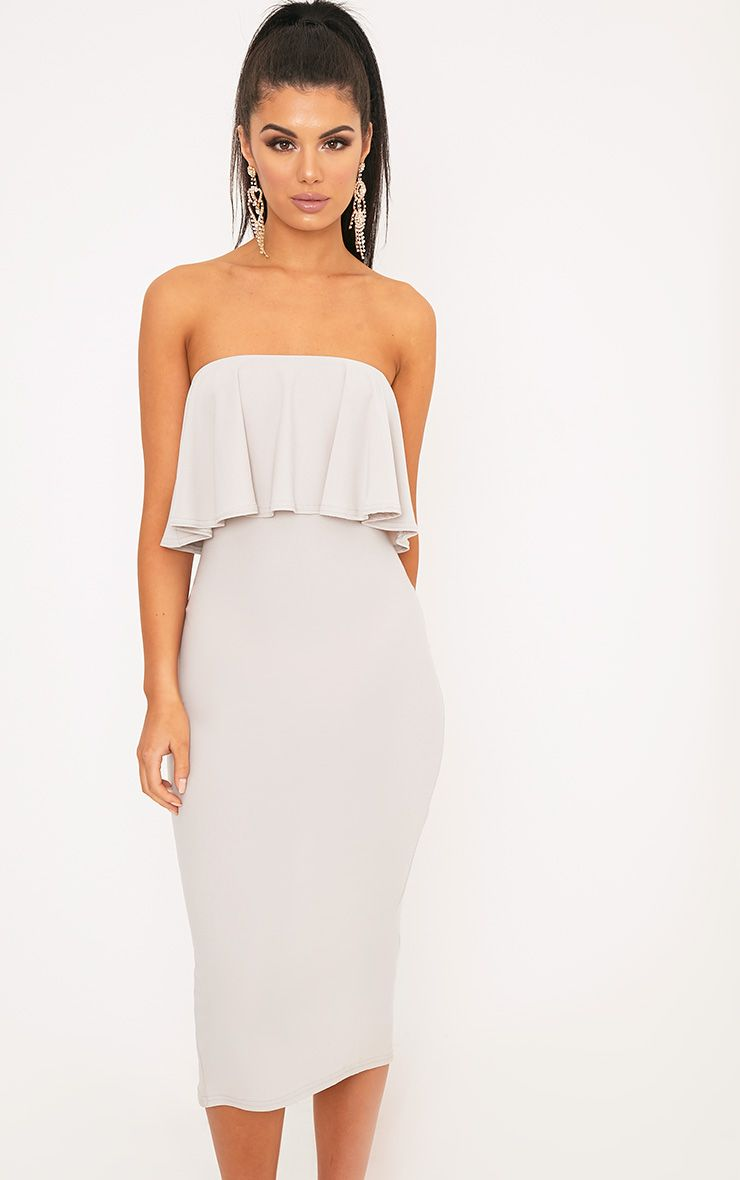 Product photo of Presley dove grey frill bandeau midi dress dove grey