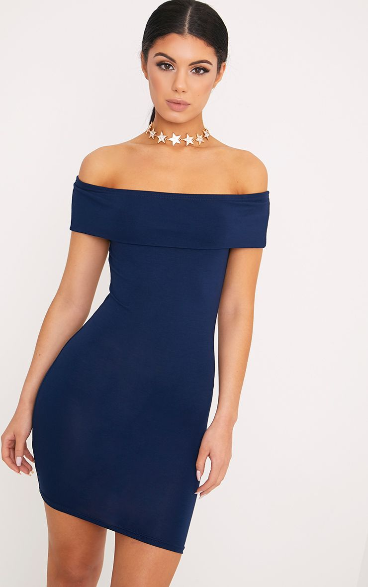 Bethany Navy Bardot Detail Bodycon Dress 1