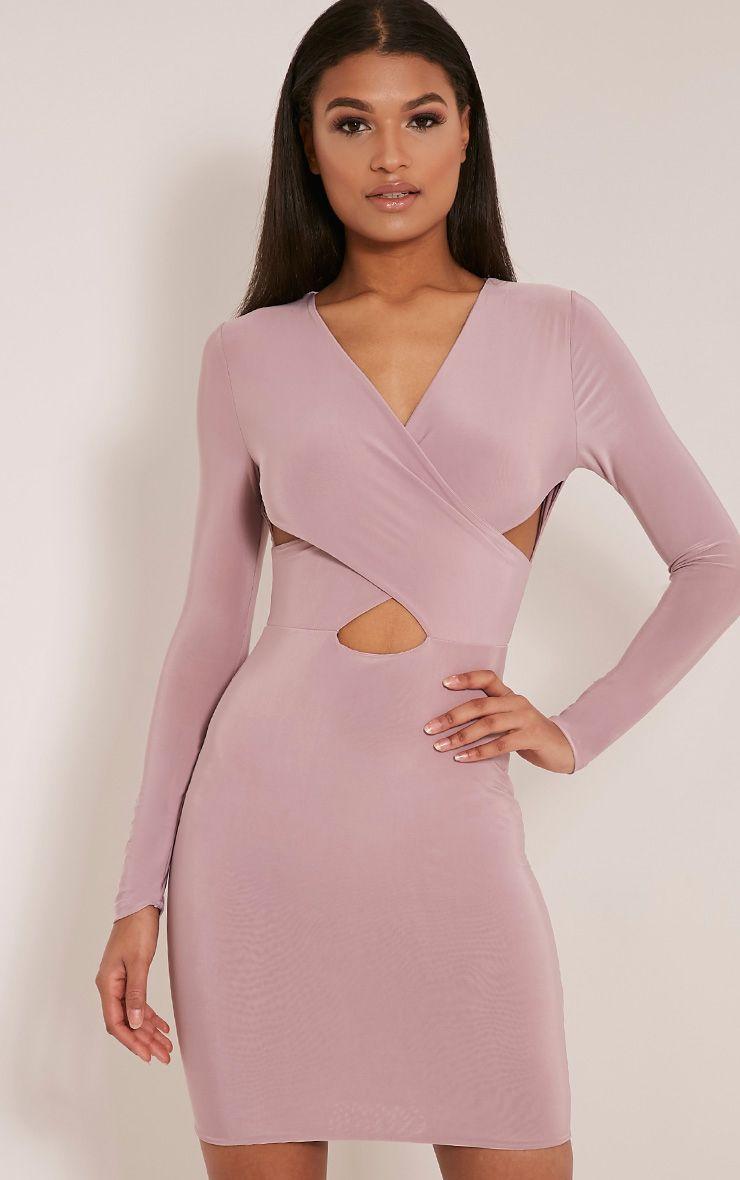 Tamaya Mauve Long Sleeve cross front Bodycon Dress 1