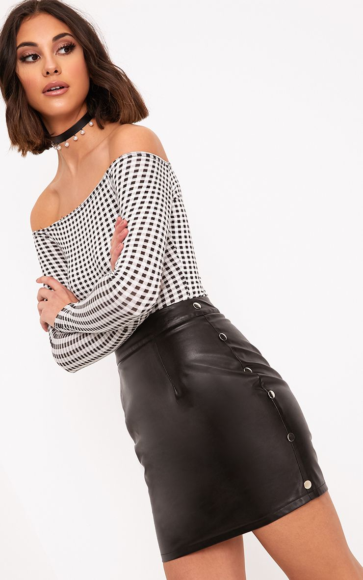 Maisha Black Button Side Faux Leather Mini Skirt