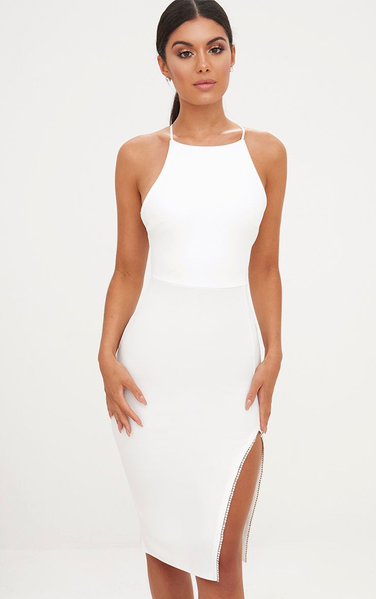 White Diamante Split Midi Dress