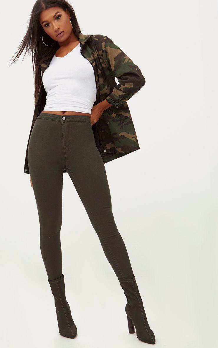 Khaki Disco Skinny Jean