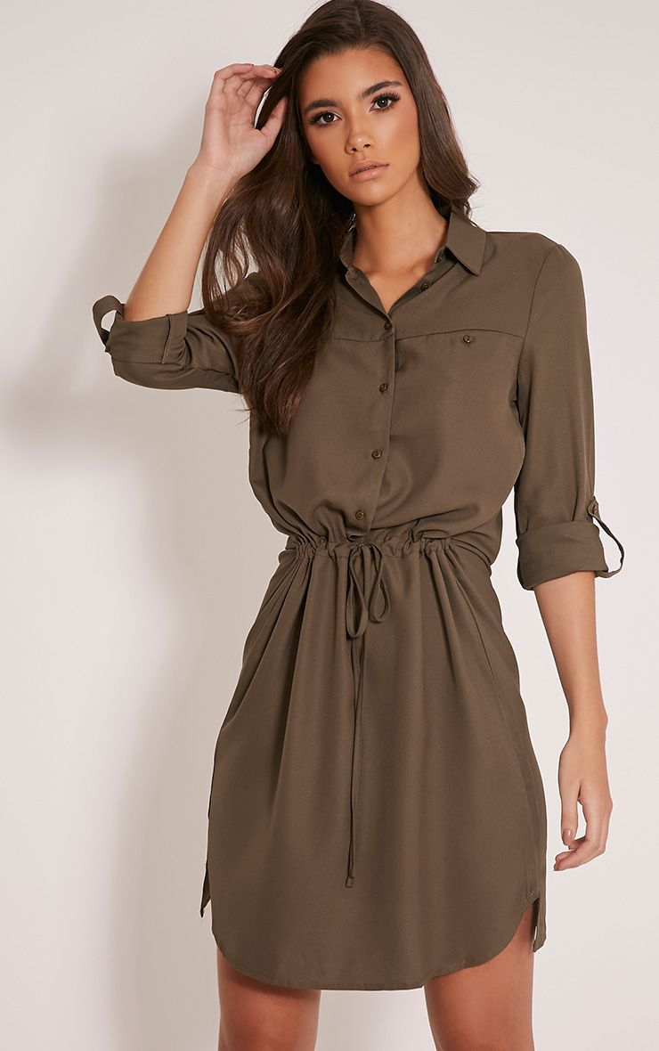 Madalie Khaki Tie Waist Shirt Dress 1