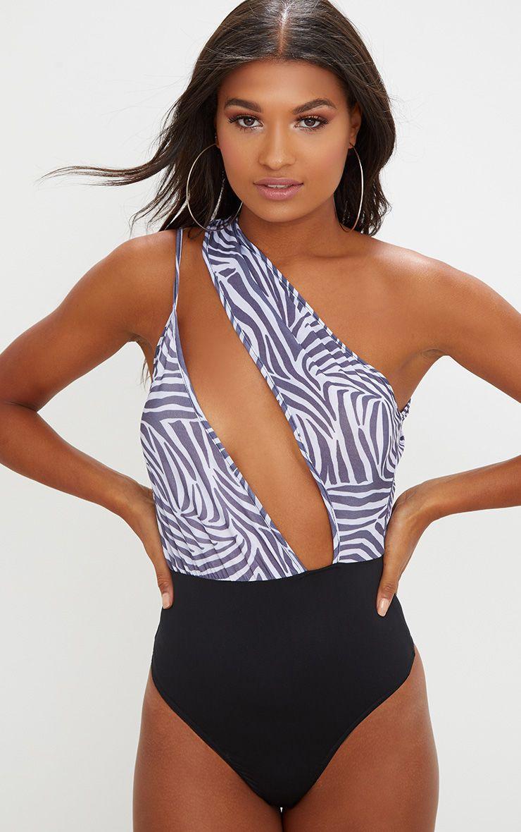 Black Slinky Zebra Print One Shoulder Thong Bodysuit