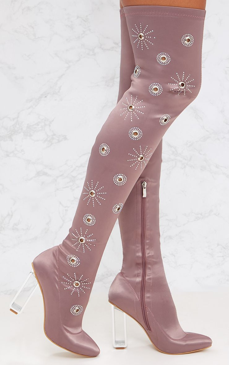 Pink Embellished Over The Knee Satin Skin Boot
