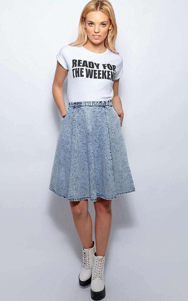 Paige Acid Wash Denim A Line Skirt 1