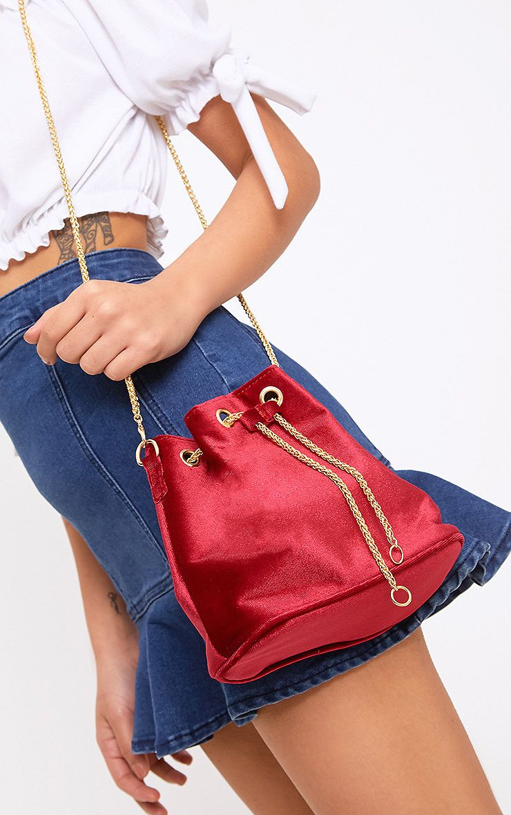 Burgundy Velvet Chain Bucket Bag