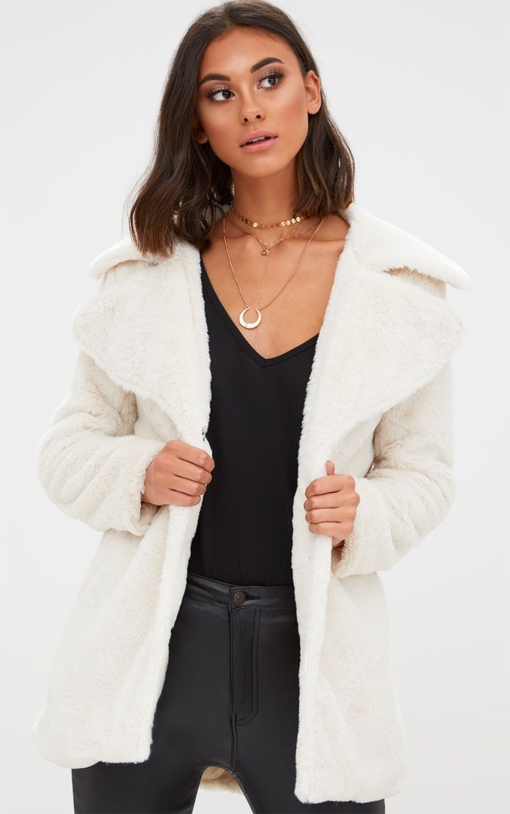 Cream Mid Length Faux Fur Coat