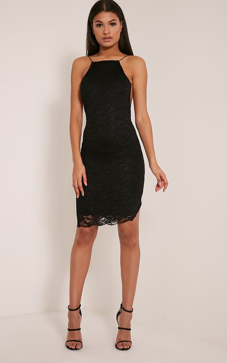 Maddie Black High Neck Lace Midi Dress