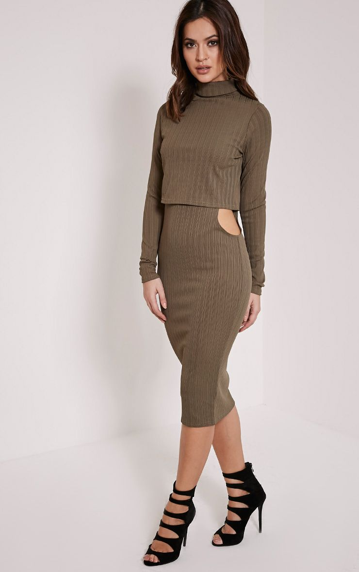 Alma Khaki Ribbed Cut Out Long Sleeve Midi Dress 1