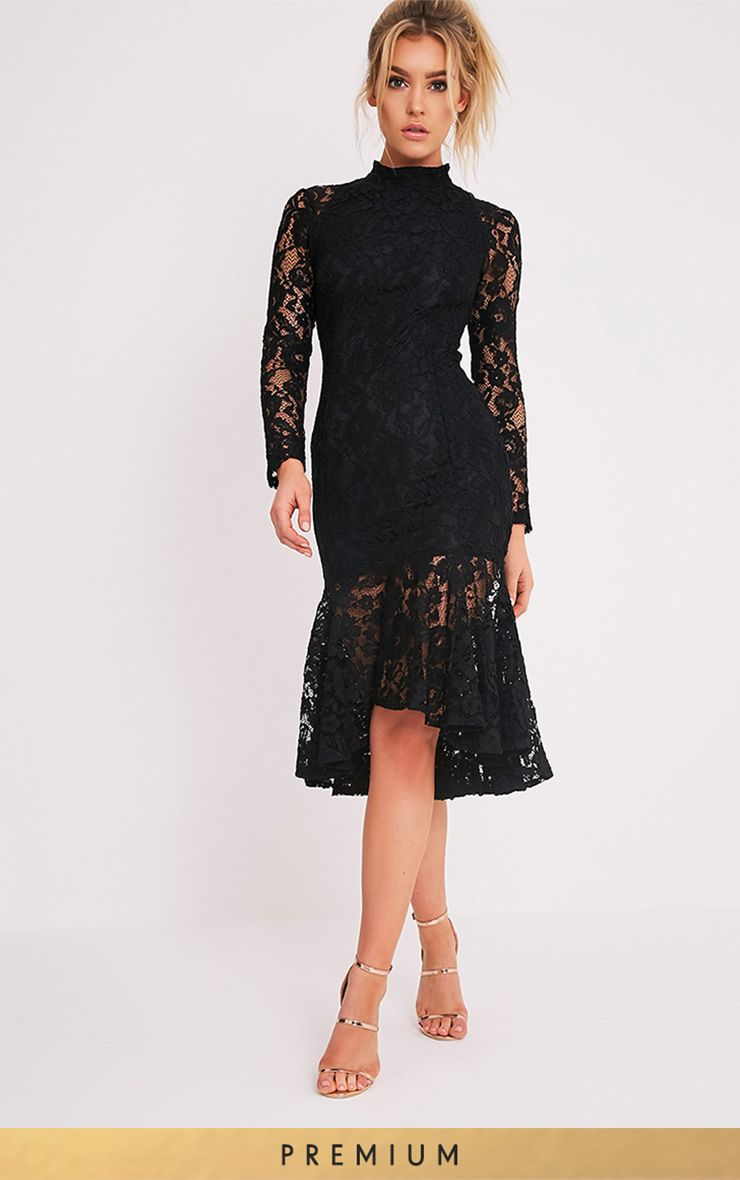 Ellina Black Premium Lace Fishtail Midi Dress