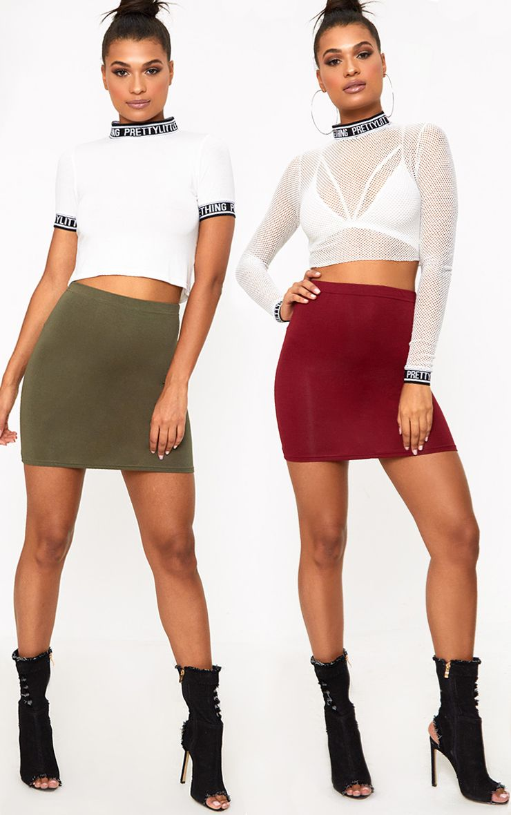 Basic Burgundy & Khaki Jersey Mini Skirt 2 Pack