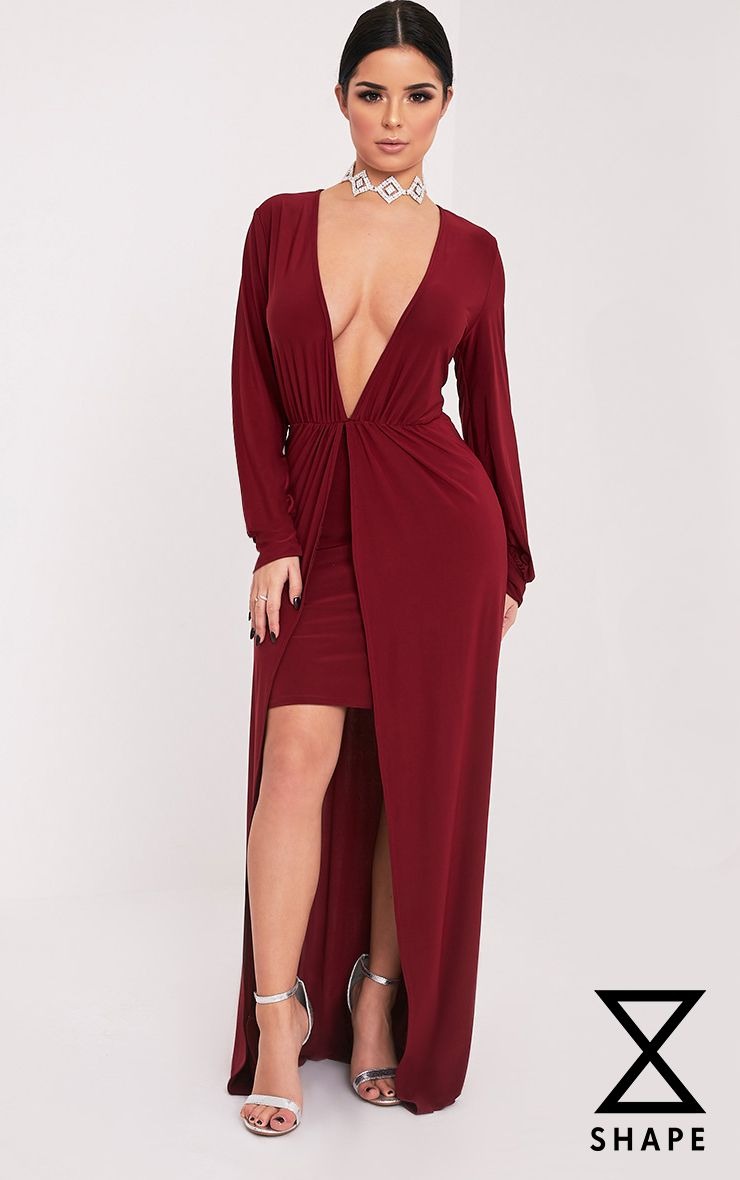 Shape Katy Burgundy Slinky Plunge Maxi Dress