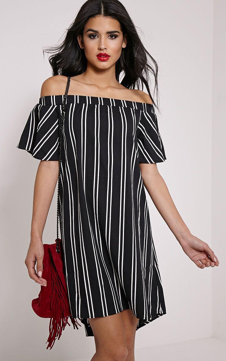 Lexi Black Stripe Bardot Mini Dress 1