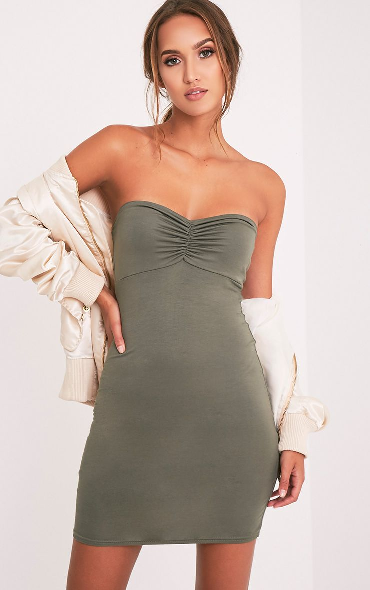 Leanna Khaki Jersey Bandeau Bodycon Dress
