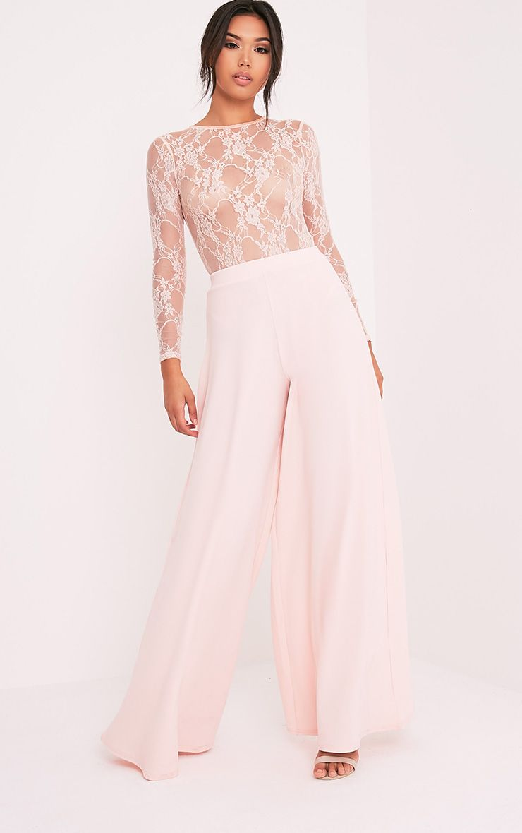 Sidney Nude Extreme Wide Leg Crepe Trousers